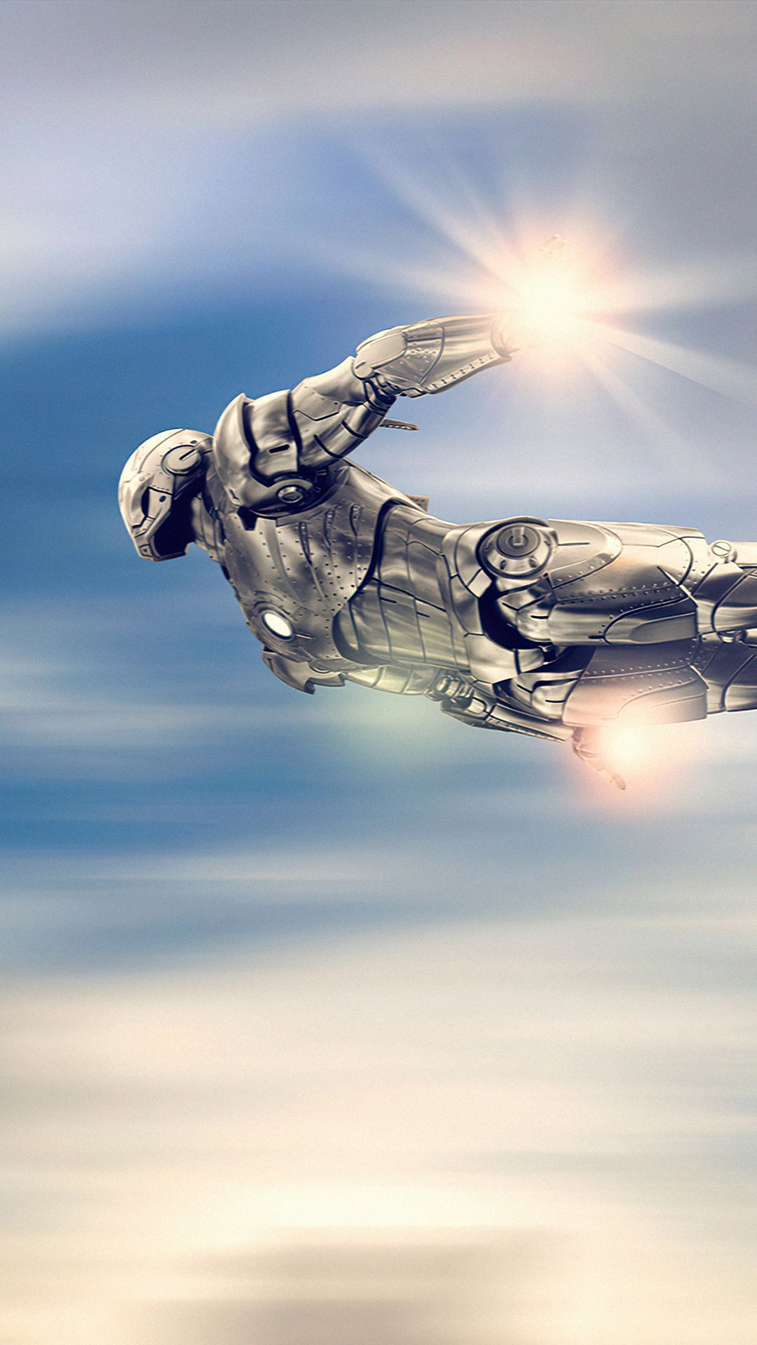 Wallpaper Iron man silver suit flying Vertical