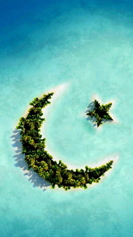 Fondos de pantalla Islas con forma de luna y estrella Vertical