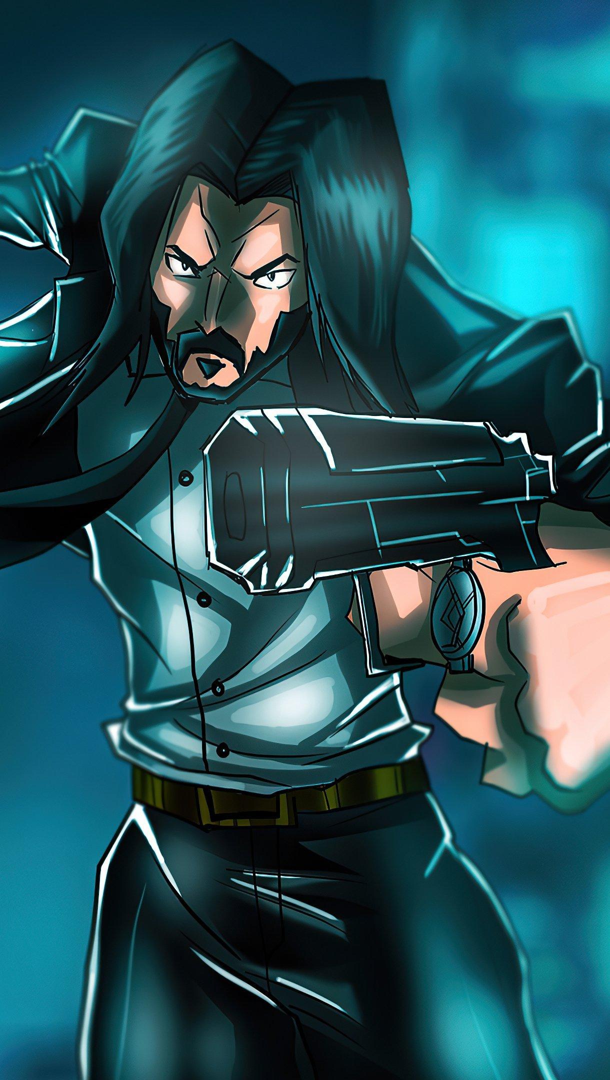 Fondos de pantalla John Wick con espada y arma Vertical