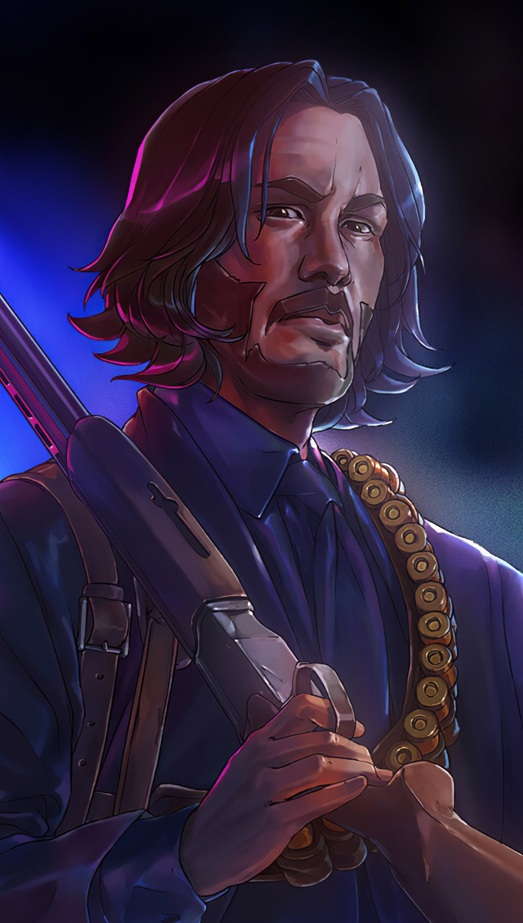 Wallpaper John Wick Illustration Vertical