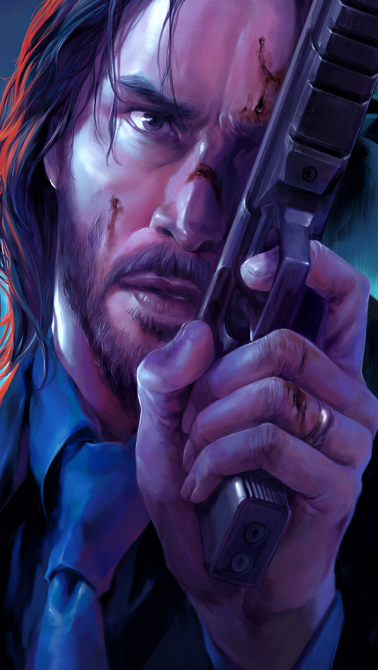 Wallpaper John Wick and dogs Vertical