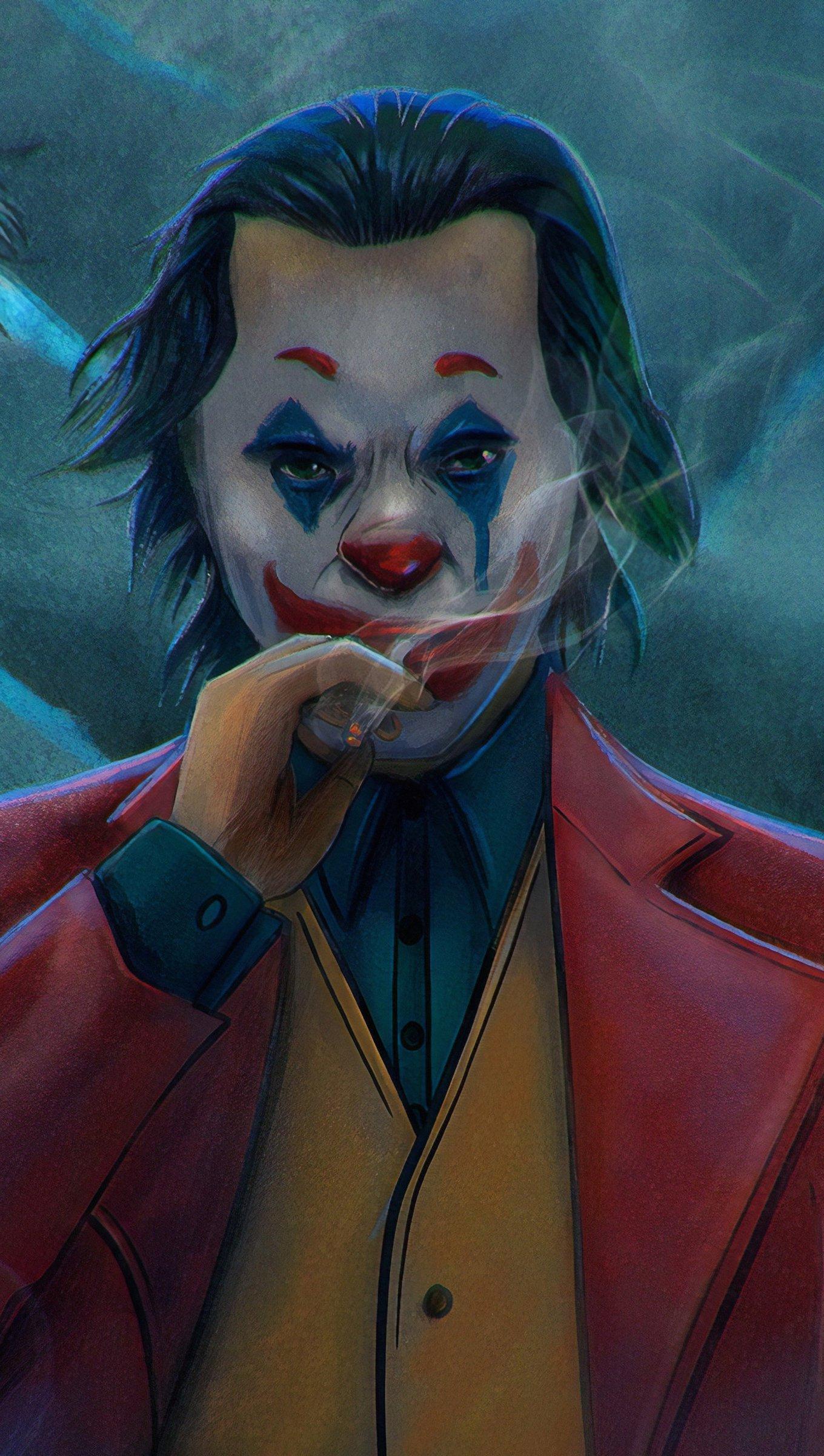 Wallpaper Joker with a cigratte Fanart Vertical
