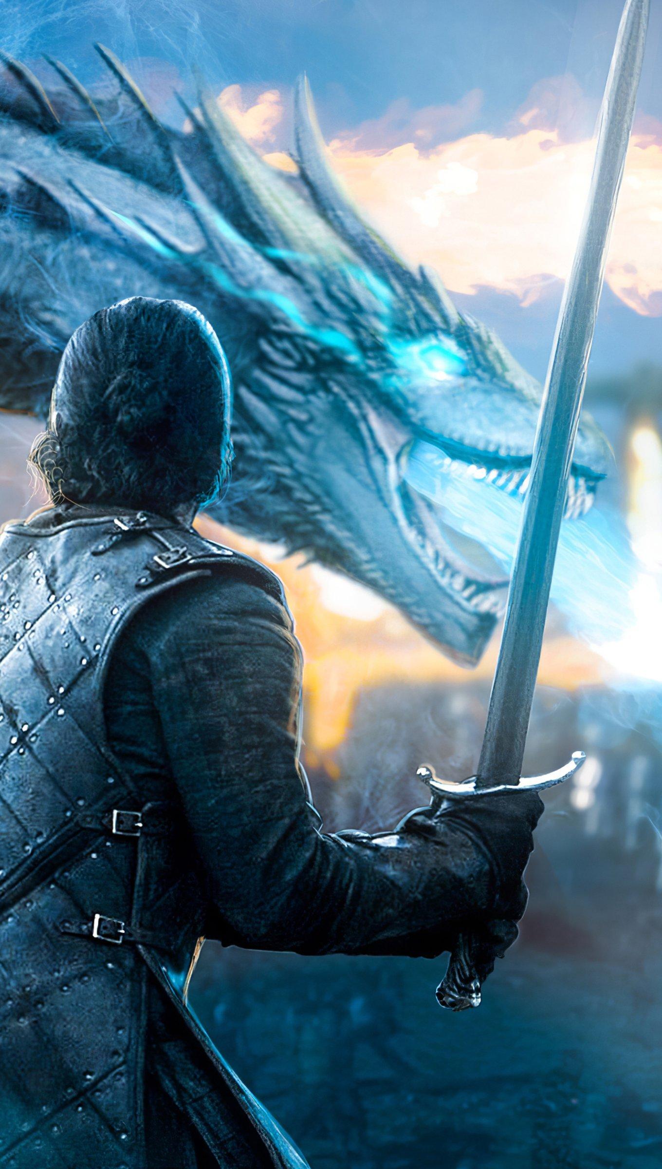 Fondos de pantalla Jon Snow con dragón de Juego de Tronos Vertical