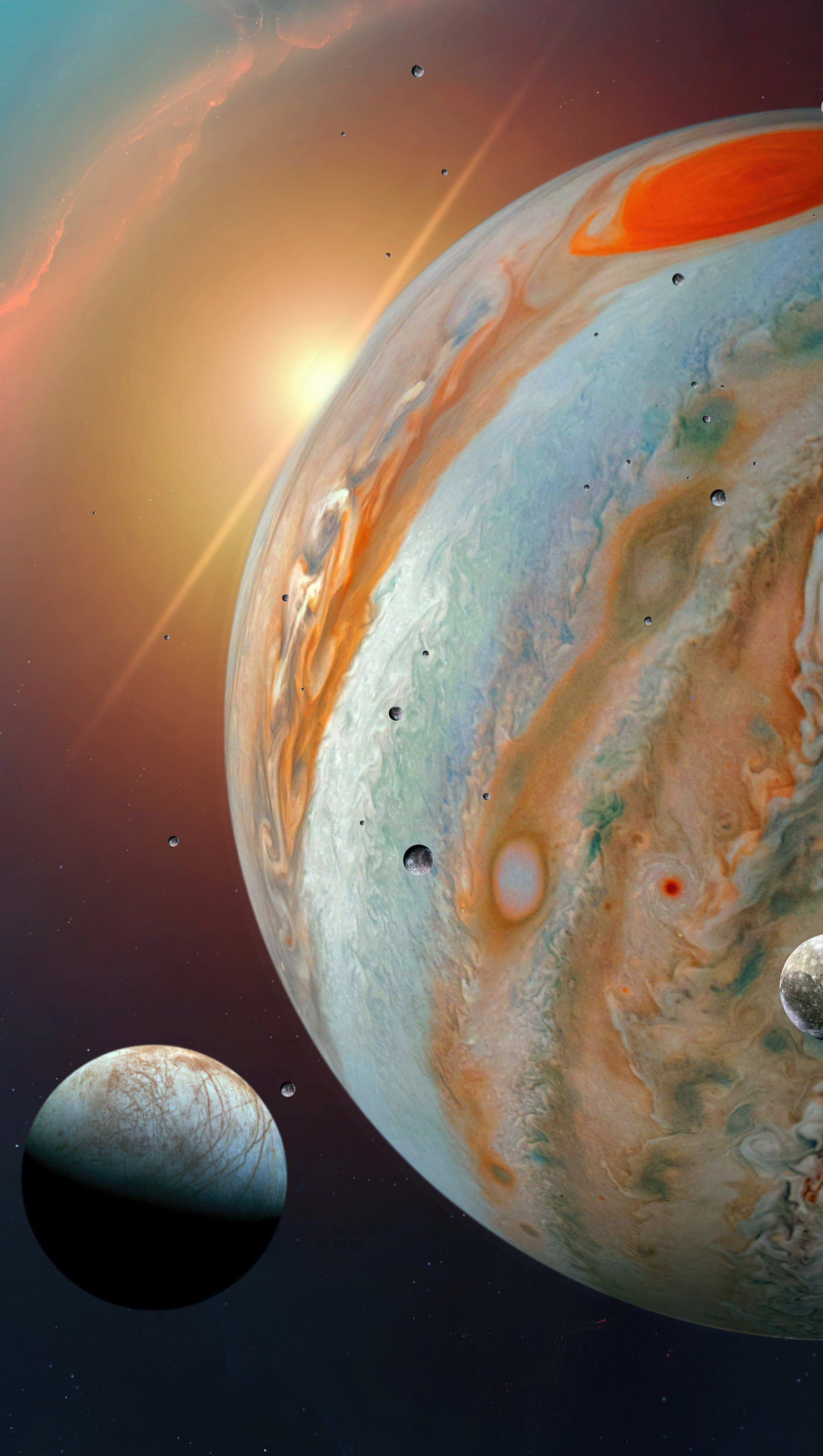 Wallpaper Jupiter and its moons Vertical