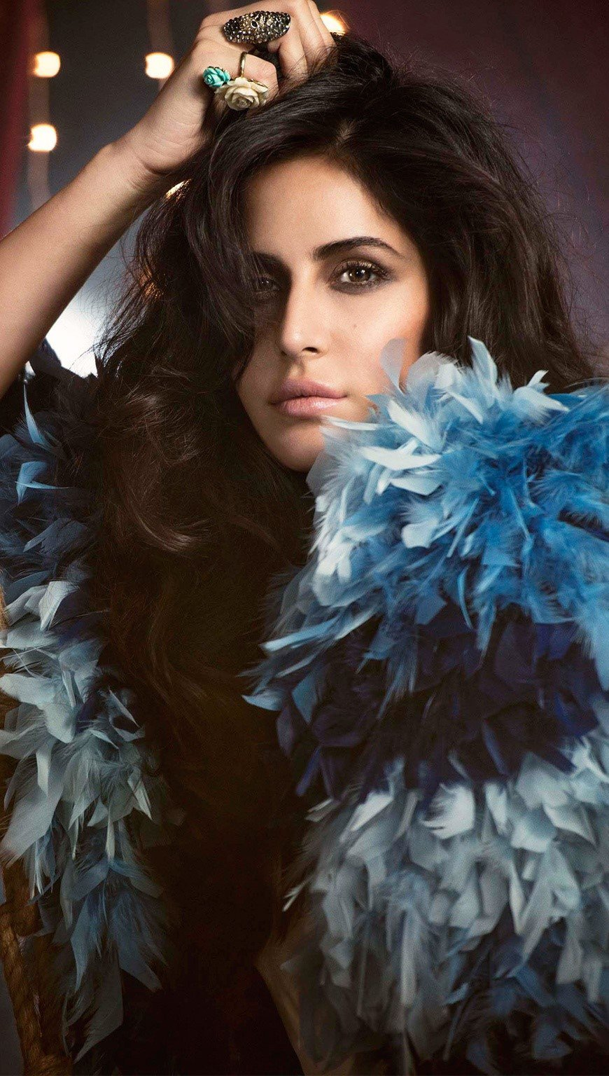 Wallpaper Kaifina Kaif with feathers Vertical