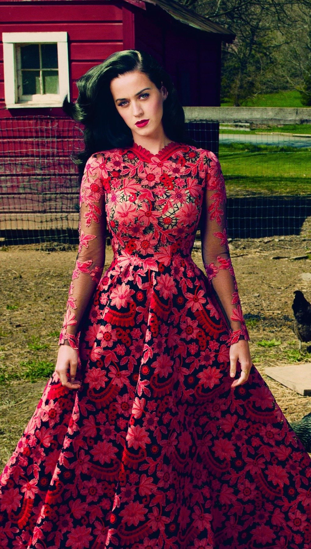Wallpaper Katy Perry in a red dress Vertical