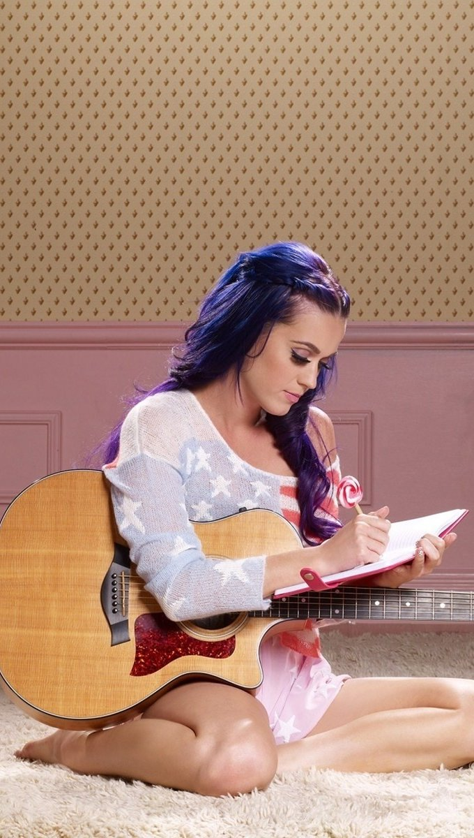Wallpaper Katy Perry writing Vertical