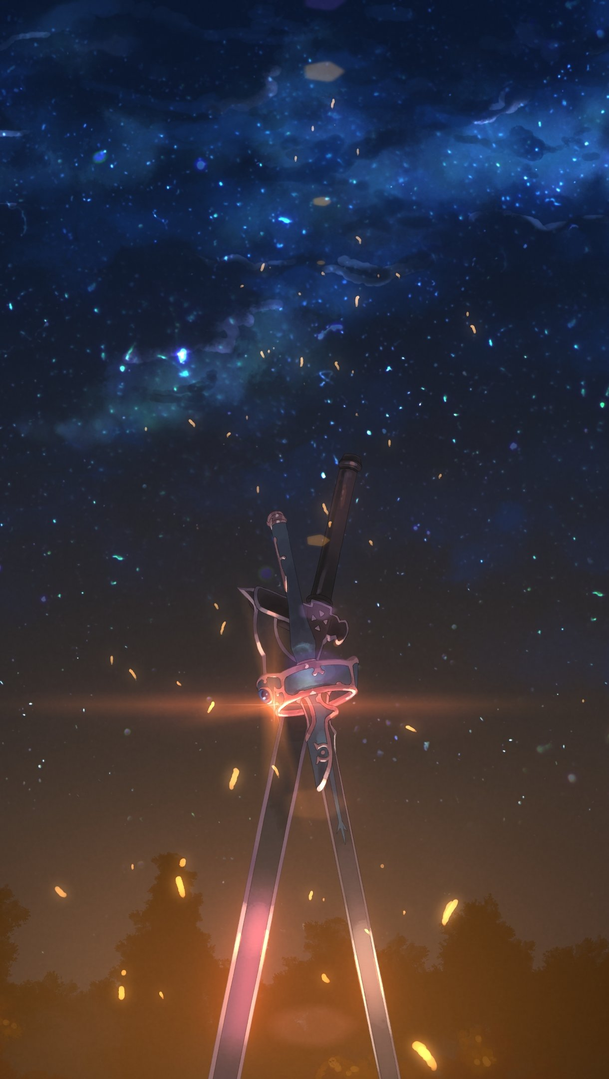 Wallpaper Kirito and Asuna's sword Vertical