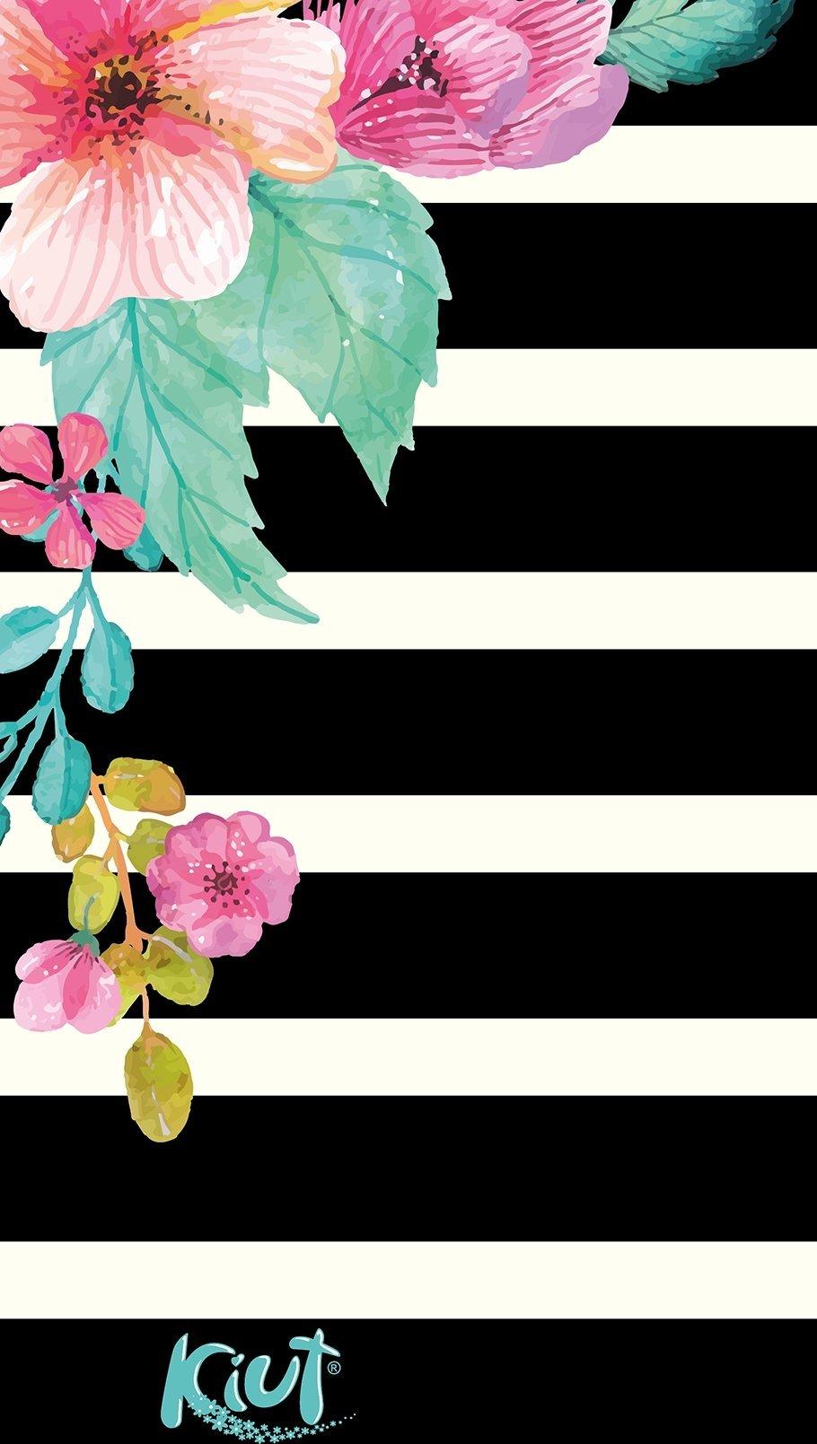 Fondos de pantalla Kiut Flores en lineas blancas y negras Vertical