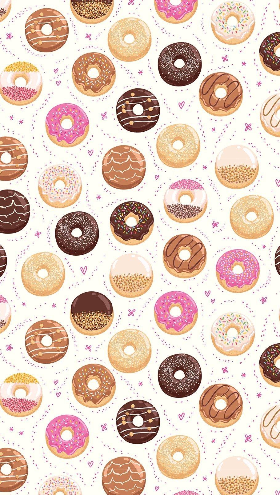 Wallpaper Kiut Donuts Pattern Vertical