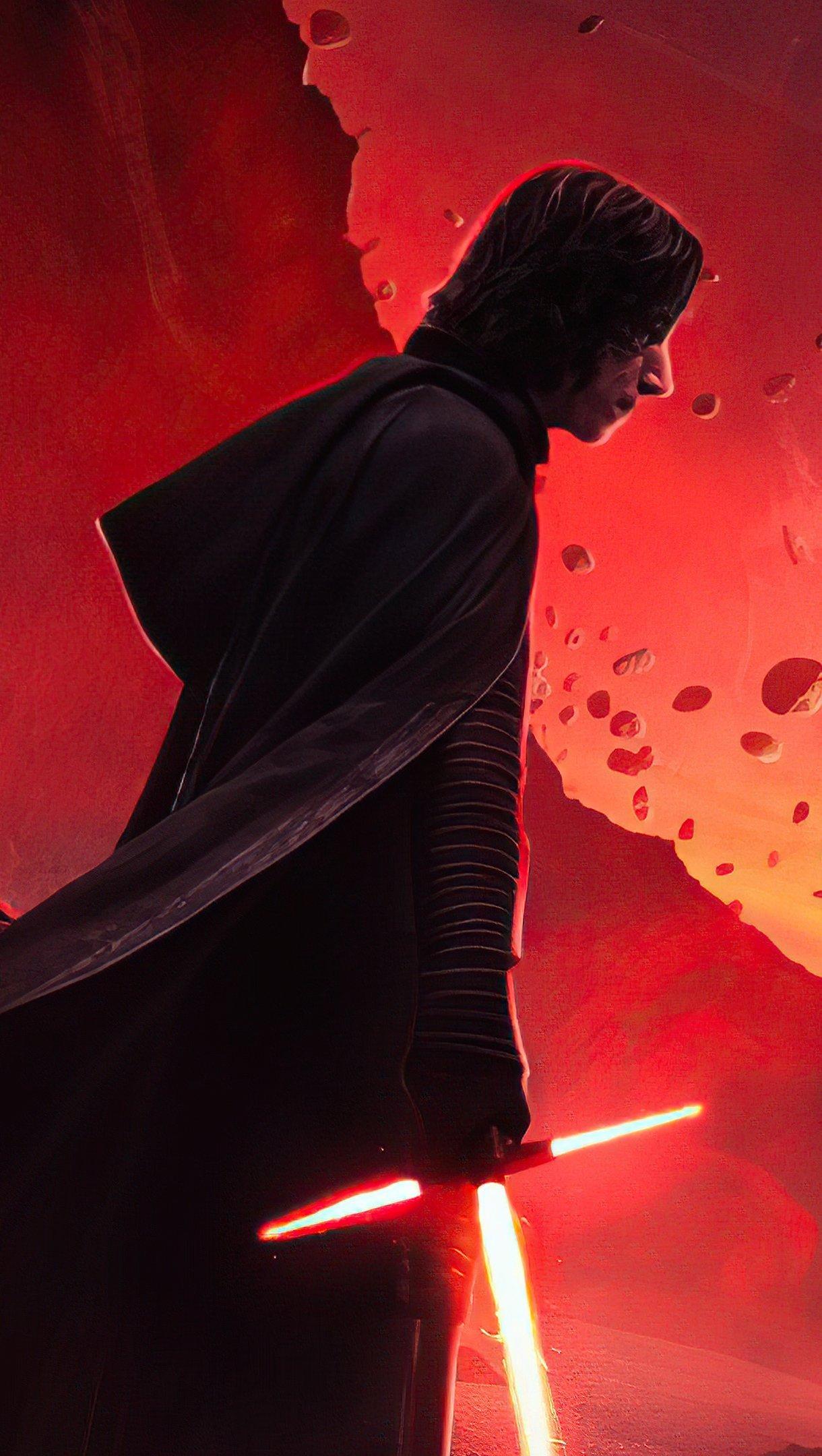 Wallpaper Kylo Ren Star Wars Lightsaber Vertical