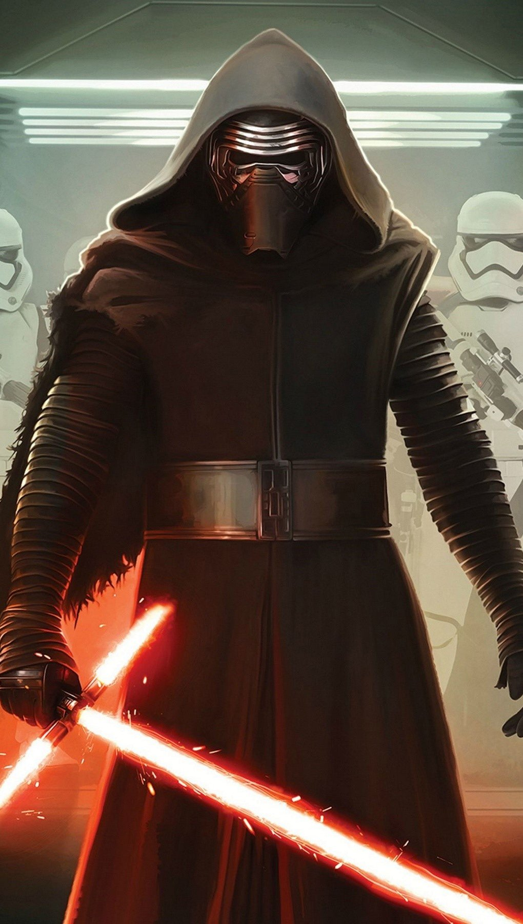 Wallpaper Kylo ren and the imperial soldiers Vertical