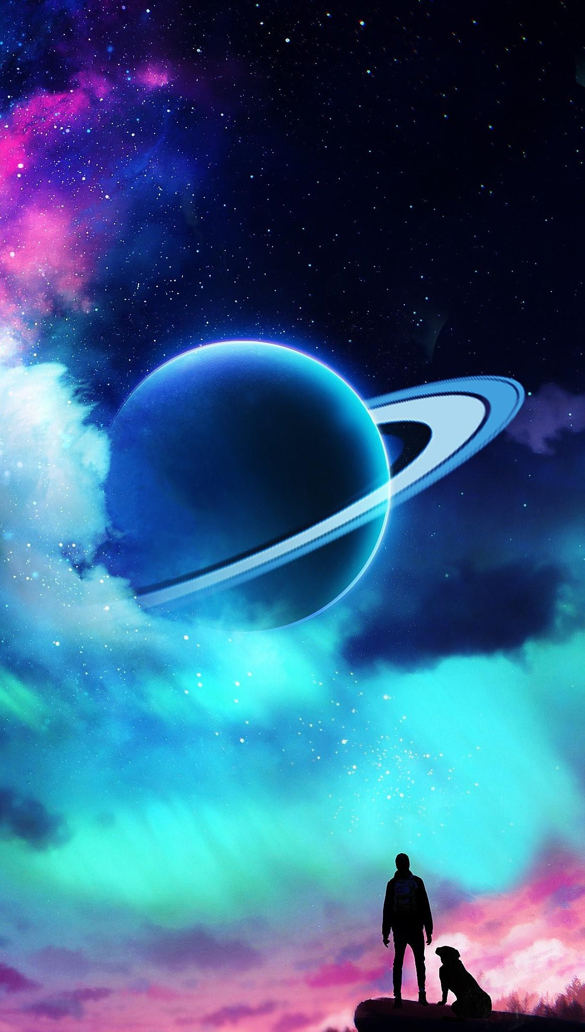 Wallpaper Aurora and planet in the Sky Vertical