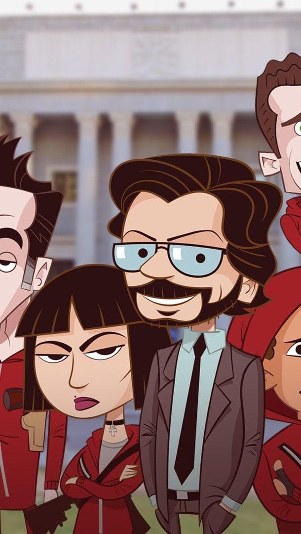 Fondos de pantalla La casa de papel versión caricatura Vertical