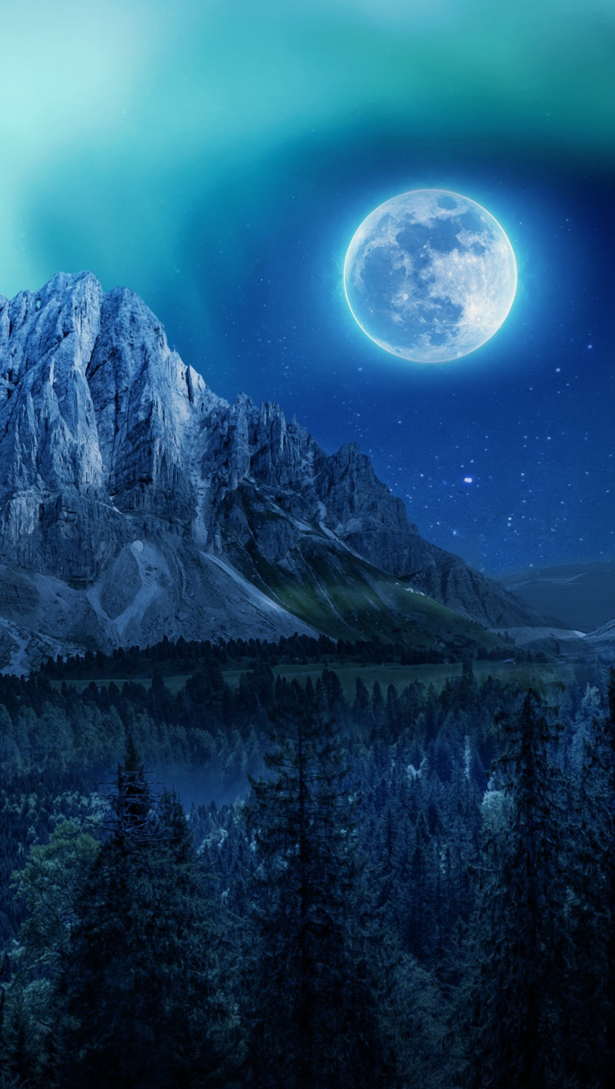 Wallpaper Moon in forest with mountains Vertical