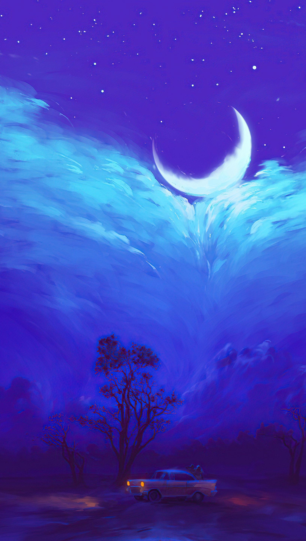 Fondos de pantalla La luna entre llamarada Arte Digital Vertical