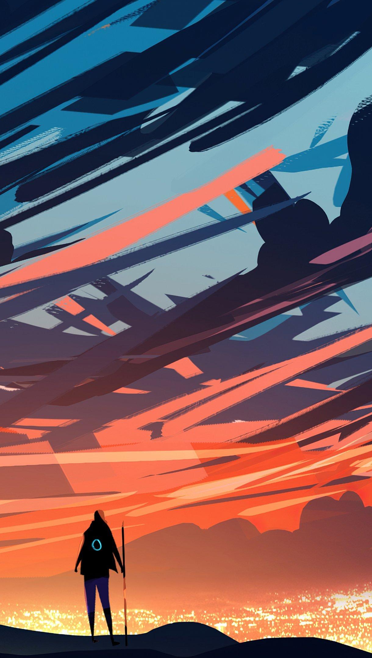 Fondos de pantalla La luz del atardecer Arte Digital Vertical