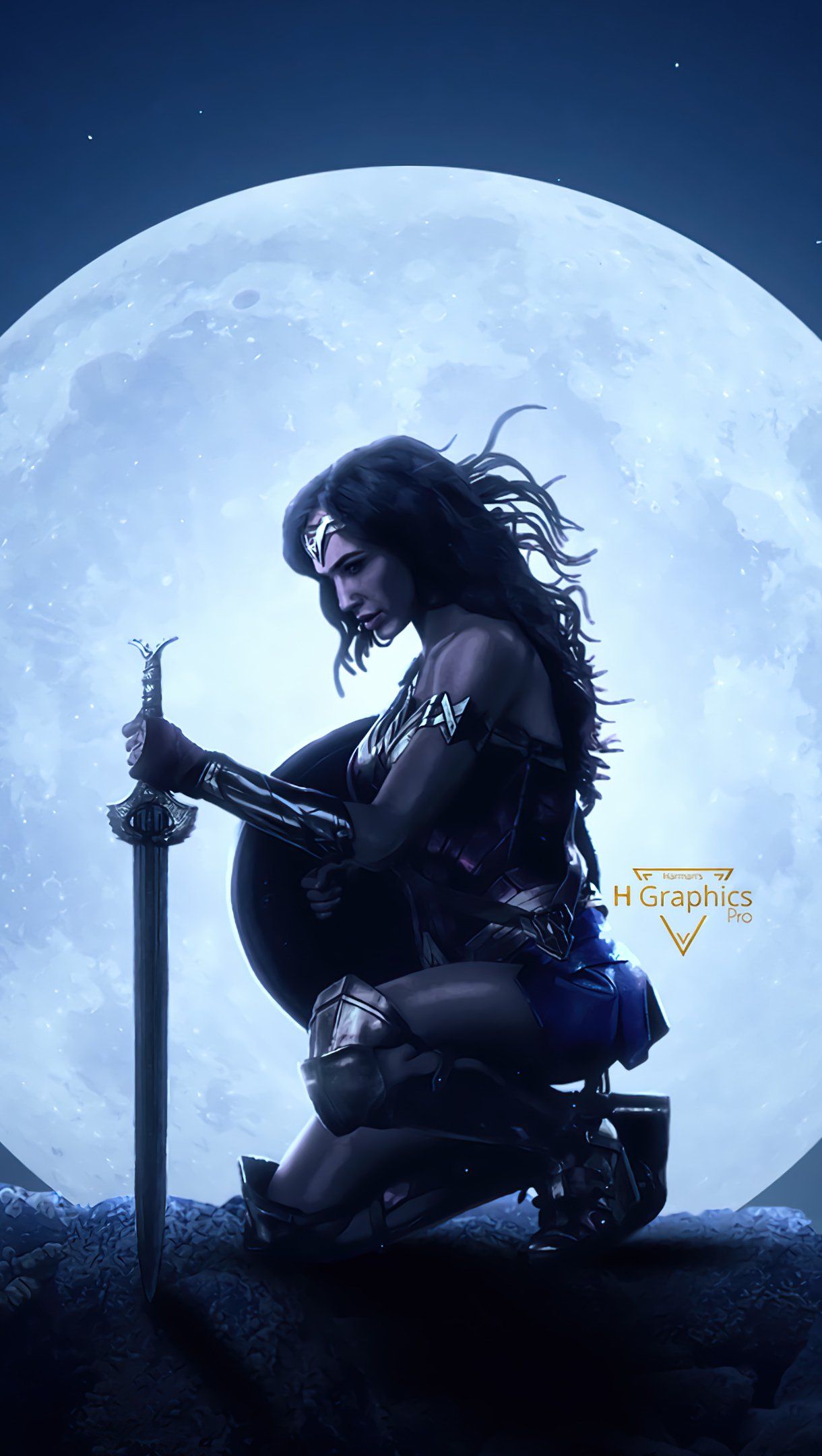 Wallpaper Wonder woman with moon in the background Vertical