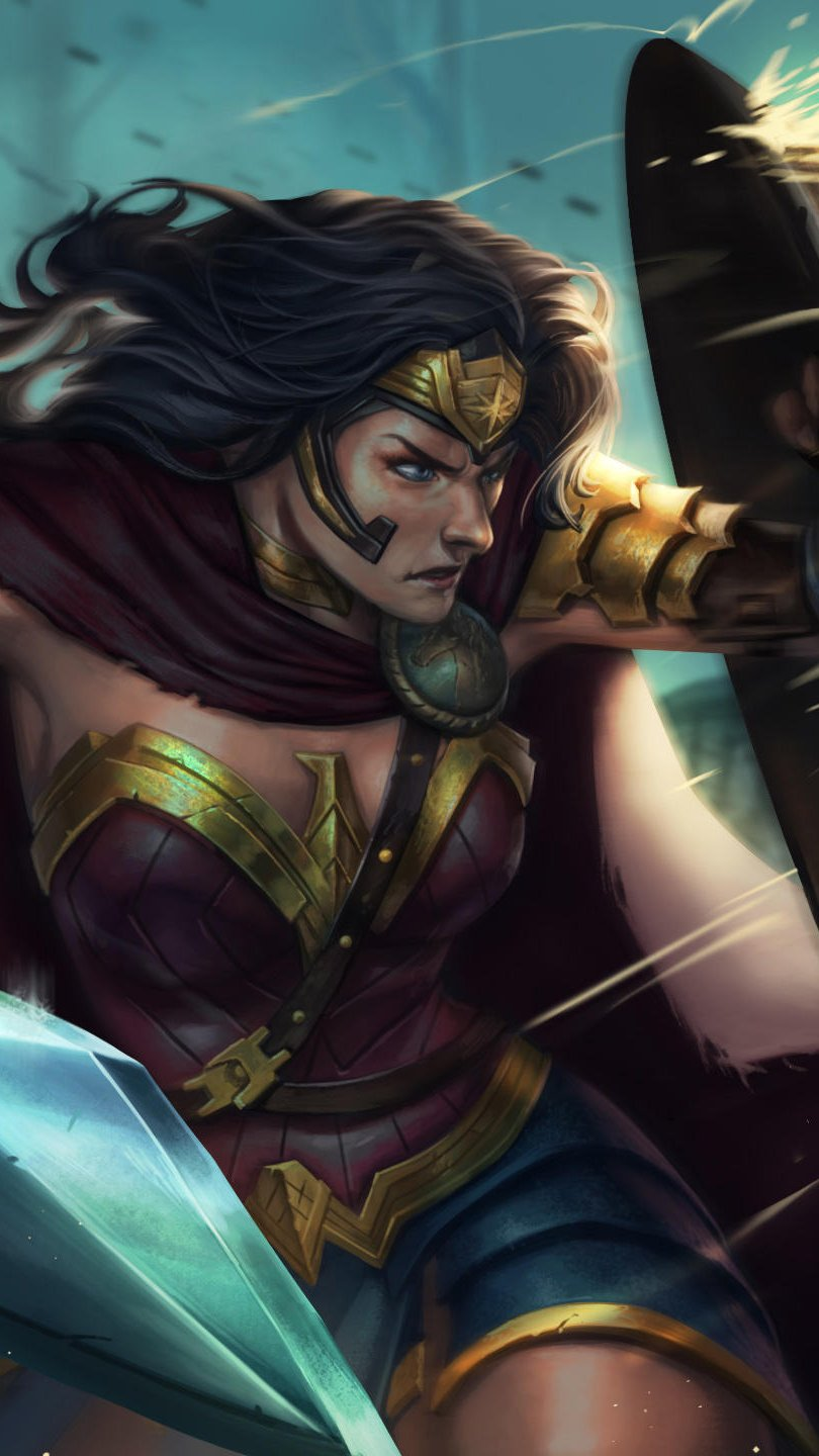 Wallpaper Wonder Woman defending herself with shield Vertical