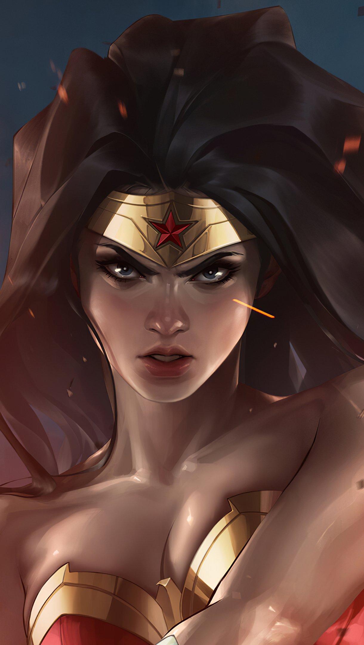 Wallpaper Wonder Woman Illustration Vertical