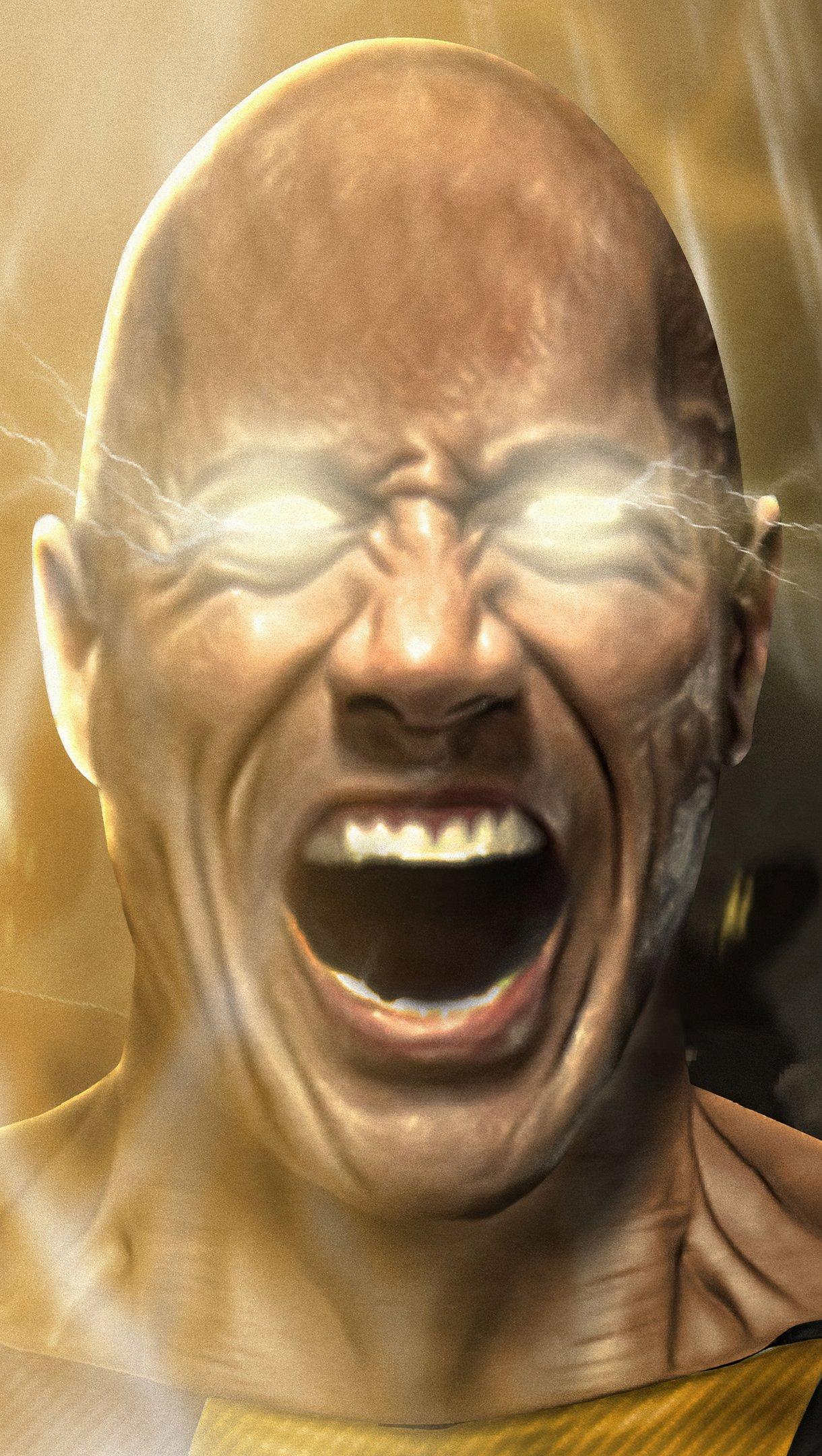 Fondos de pantalla La Roca como Black Adam gritando Vertical