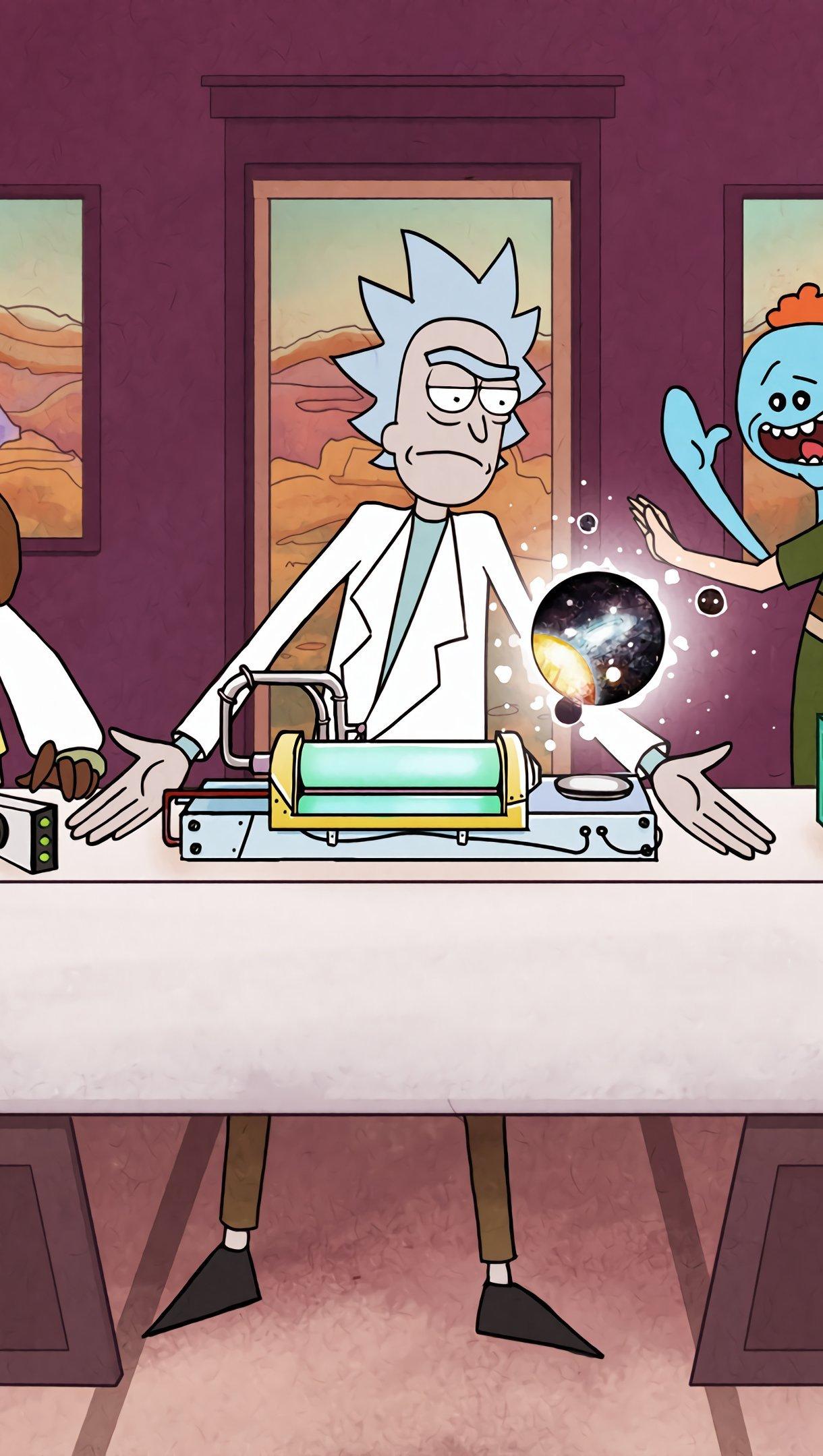 Fondos de pantalla La ultima cena de Rick y Morty Vertical