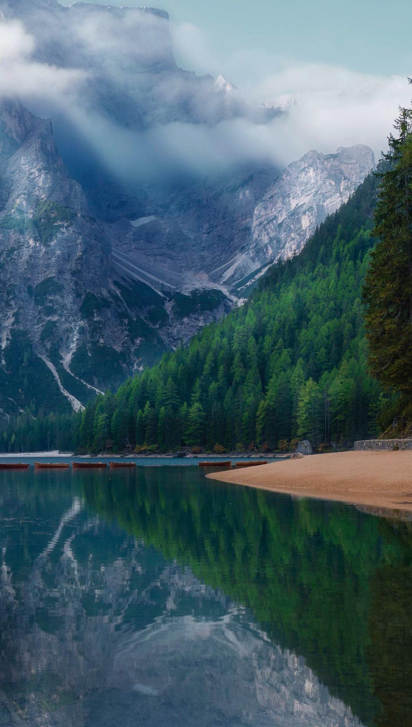 Fondos de pantalla Lago en bosque con niebla Vertical