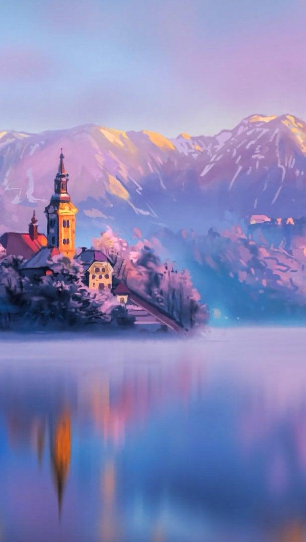 Wallpaper Lake in Slovenia at sunset Digital Art Vertical