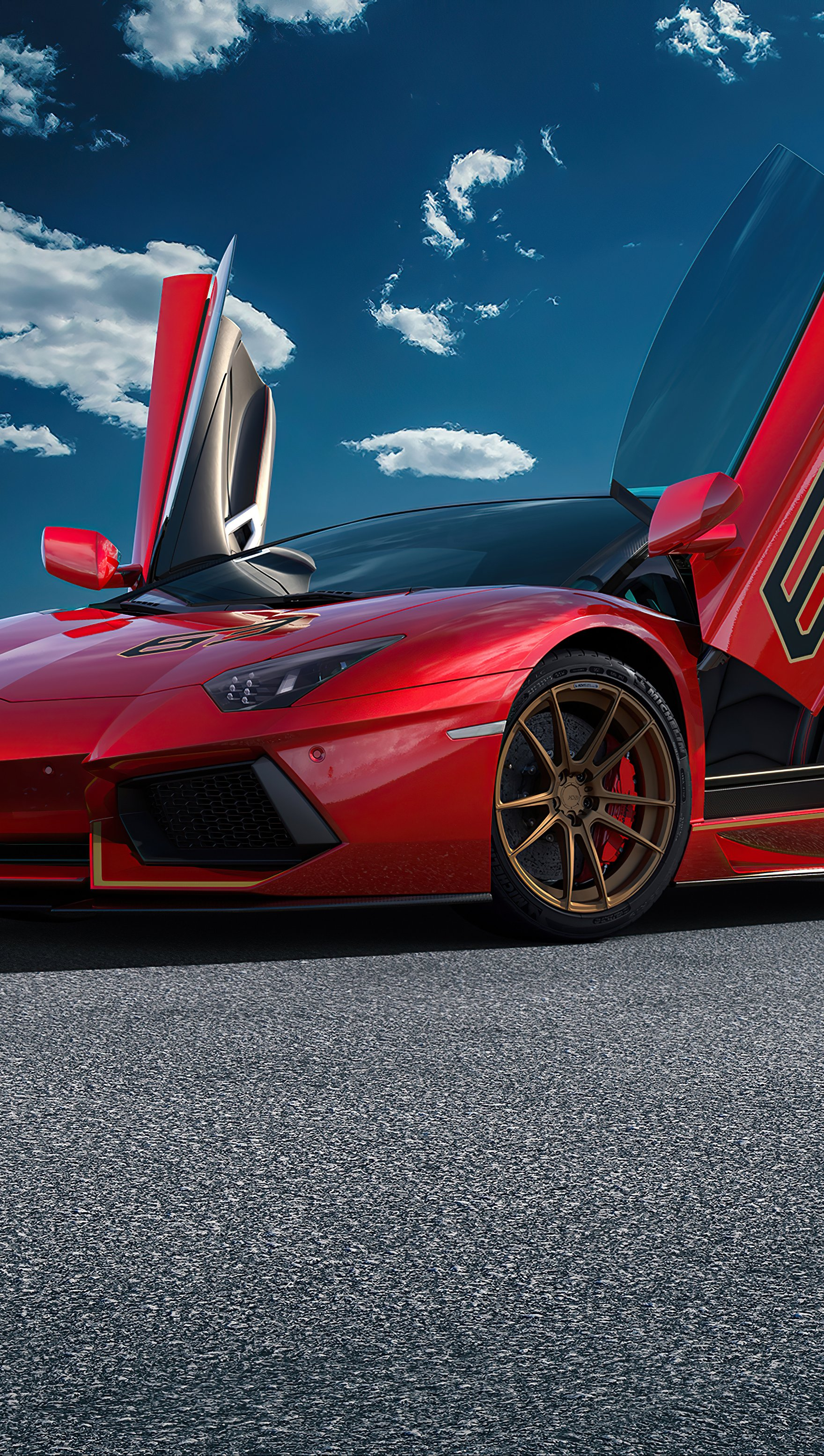 Wallpaper Lamborghini Aventador SVJ Red Vertical