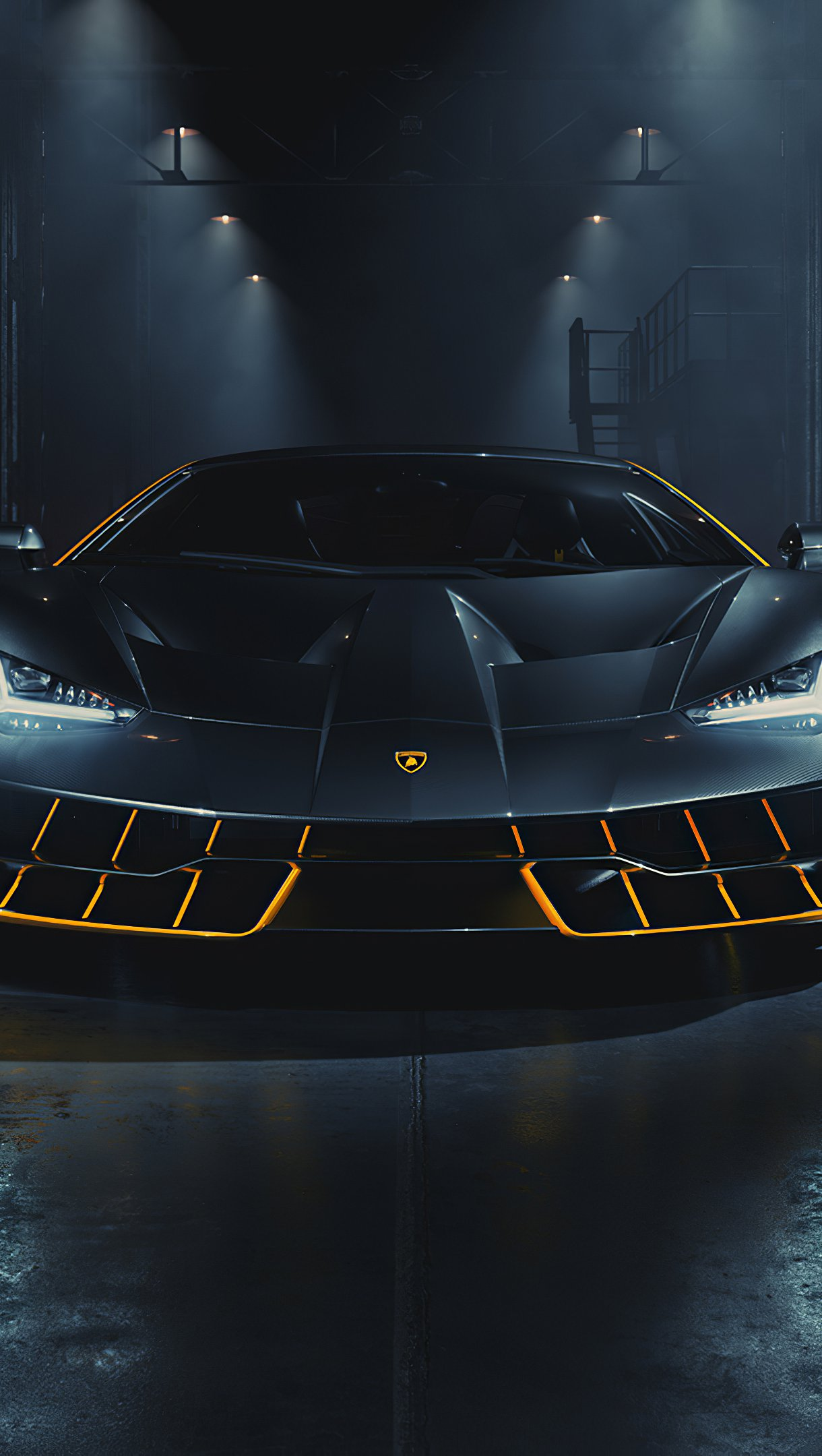 Wallpaper Black Lamborghini Centenario Vertical
