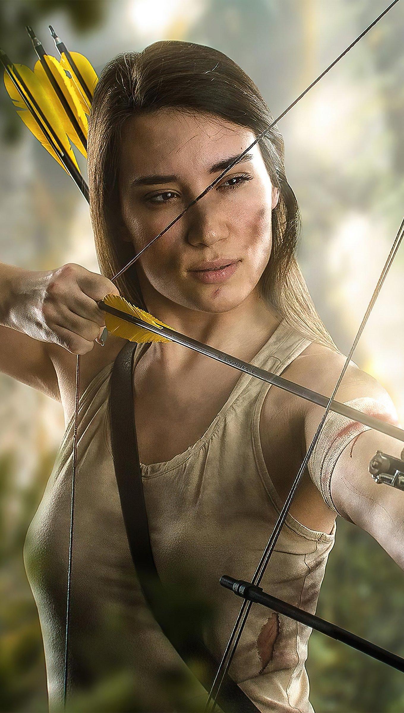 Fondos de pantalla Lara Croft con arco y flecha Vertical