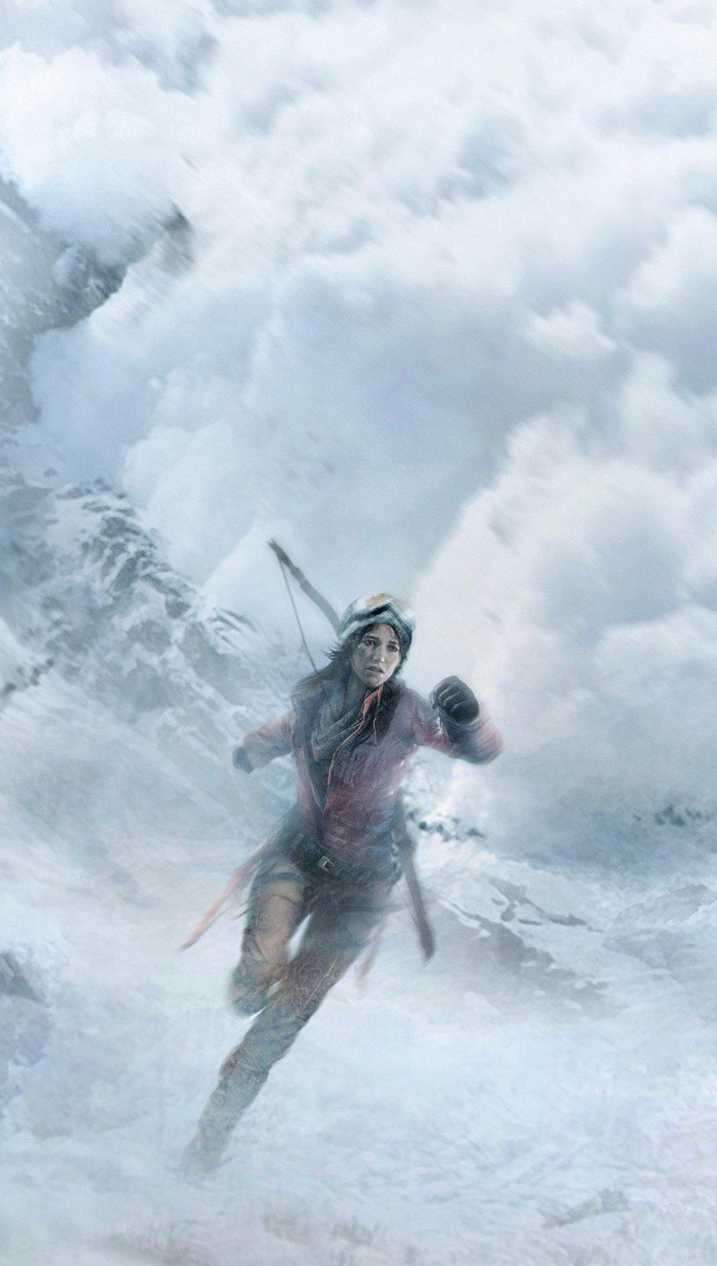 Wallpaper Lara Croft in fog Vertical