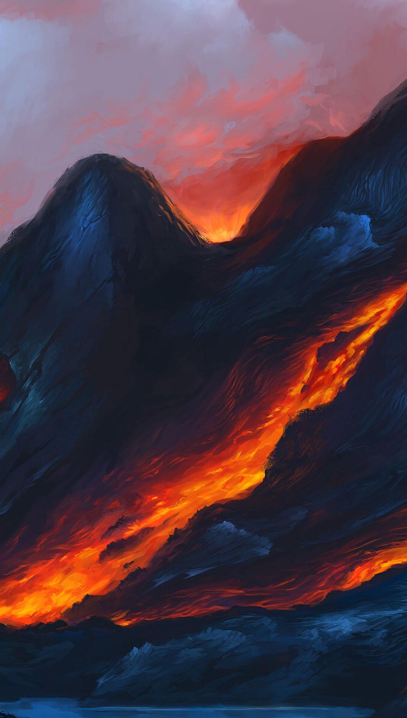 Fondos de pantalla Lava de volcán Arte Vertical