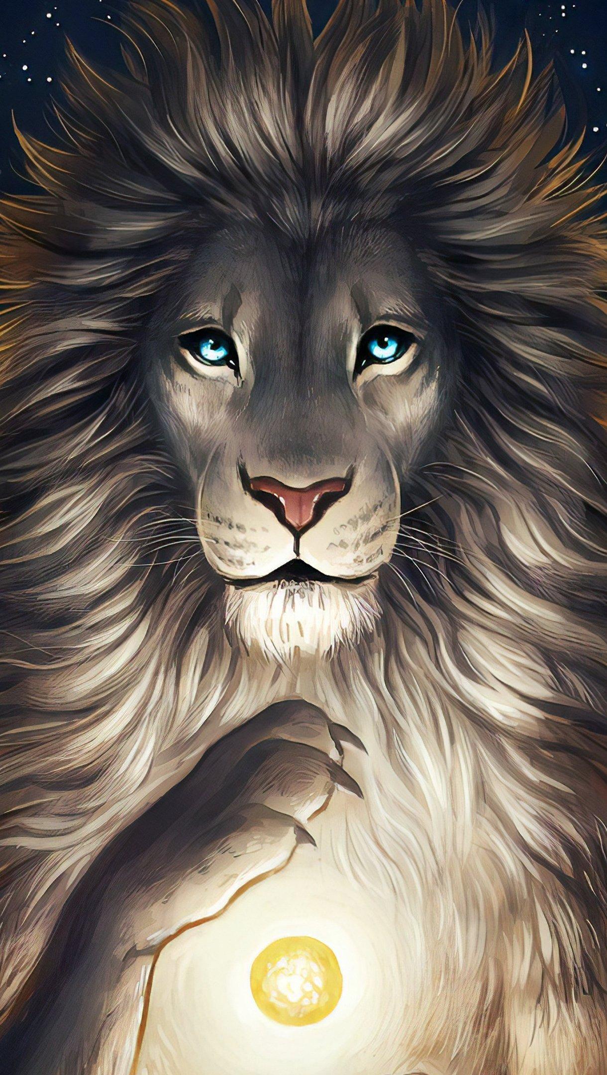 Wallpaper Lion Digital Art Vertical