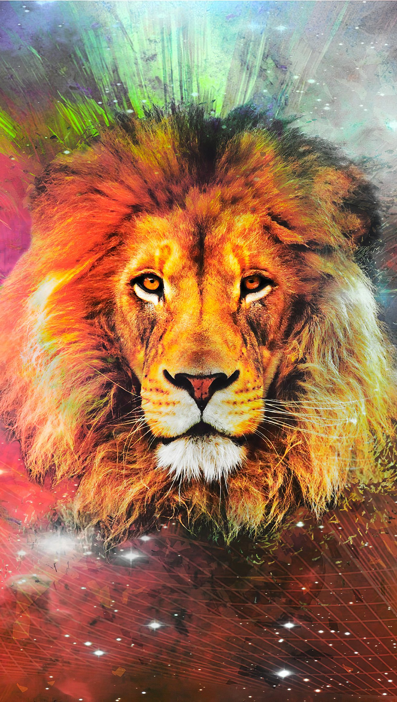 Wallpaper Lion in Galaxy Vertical