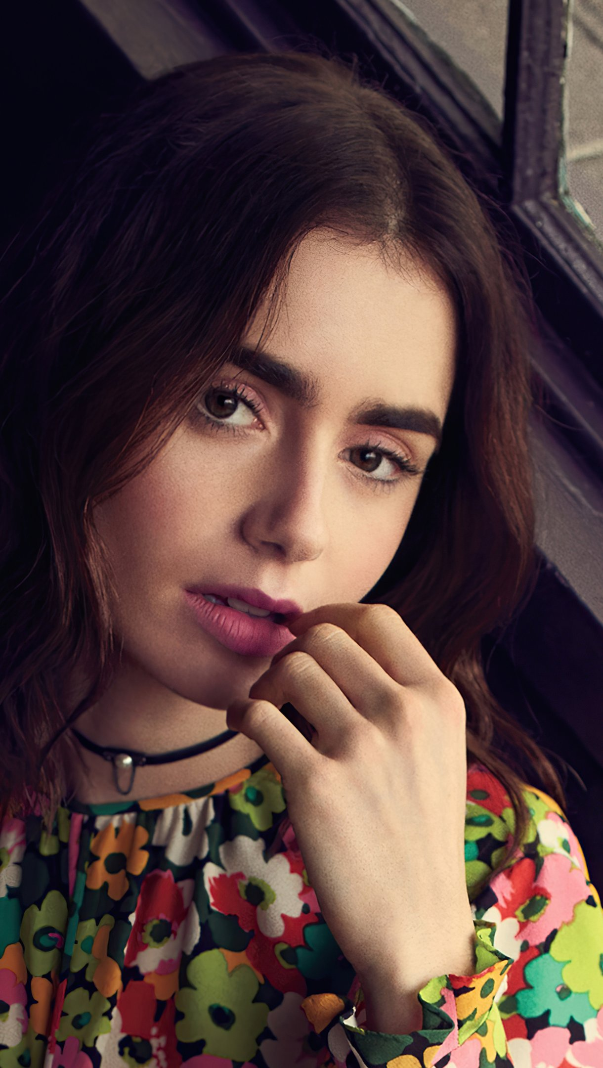 Wallpaper Lily Collins in room Vertical
