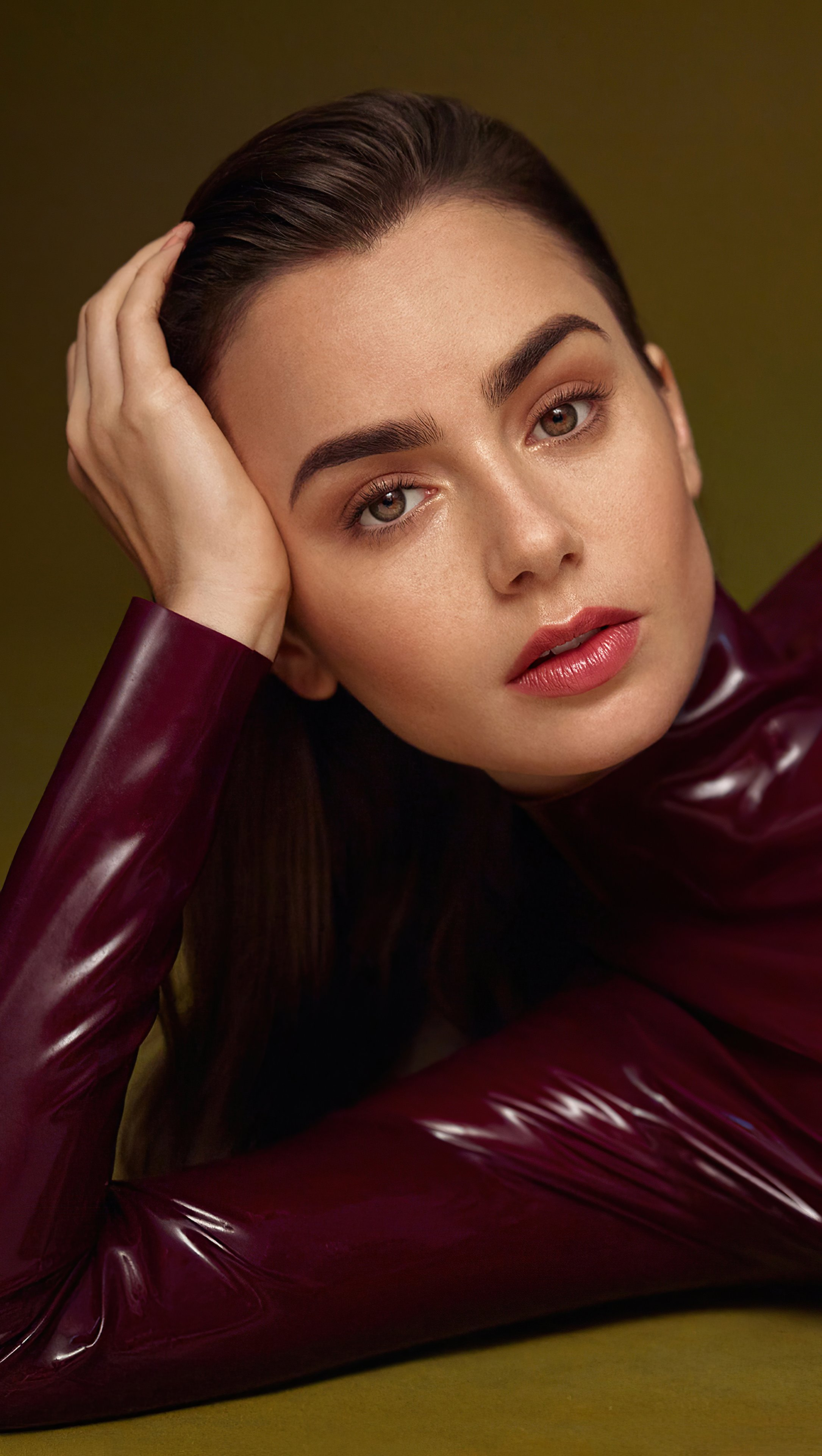 Wallpaper Lily Collins for Vogue Arabia Cover Vertical