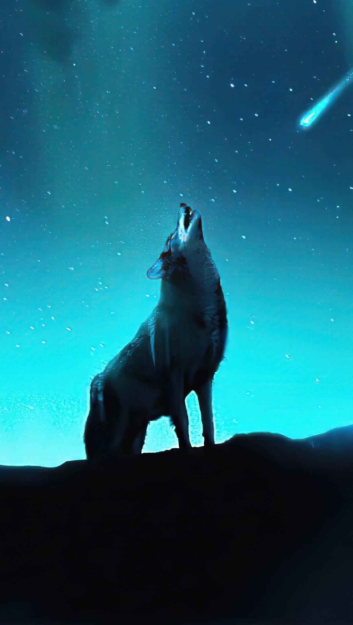 Fondos de pantalla Lobo aullando en las estrellas Vertical