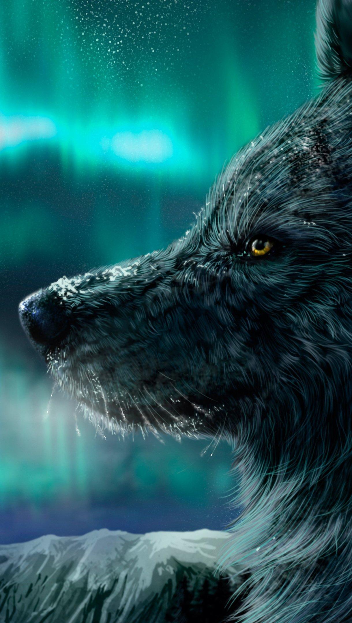 Fondos de pantalla Lobo con aurora polar de fondo Vertical