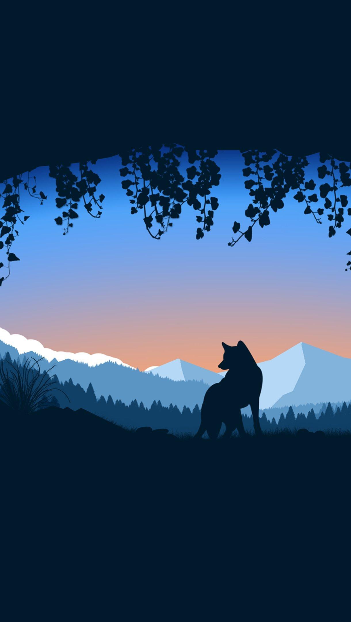 Fondos de pantalla Lobo en cueva sobre montañas Vertical