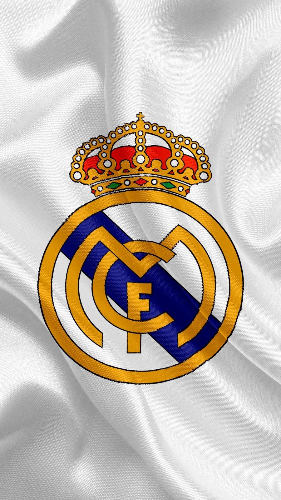 Wallpaper Real Madrid Logo in flag Vertical