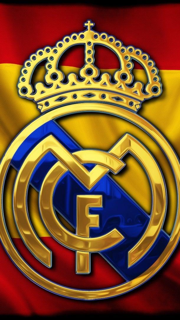Wallpaper Real Madrid logo in Spain flag Vertical