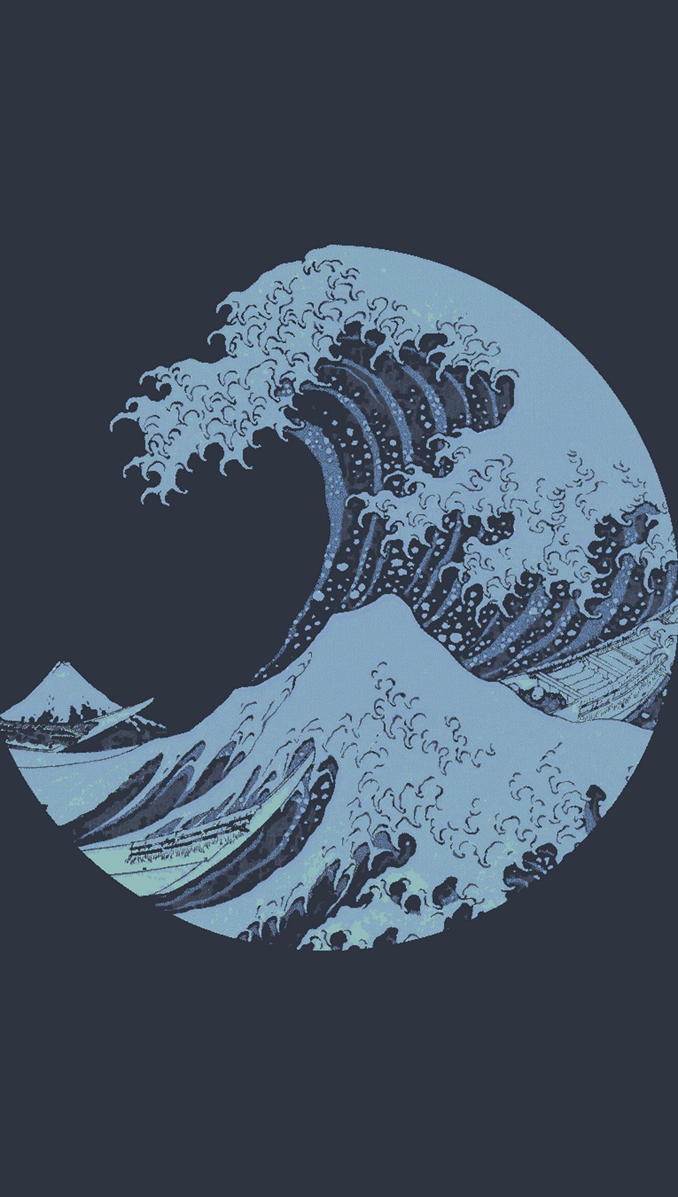 Wallpaper Minimalist waves logo Vertical