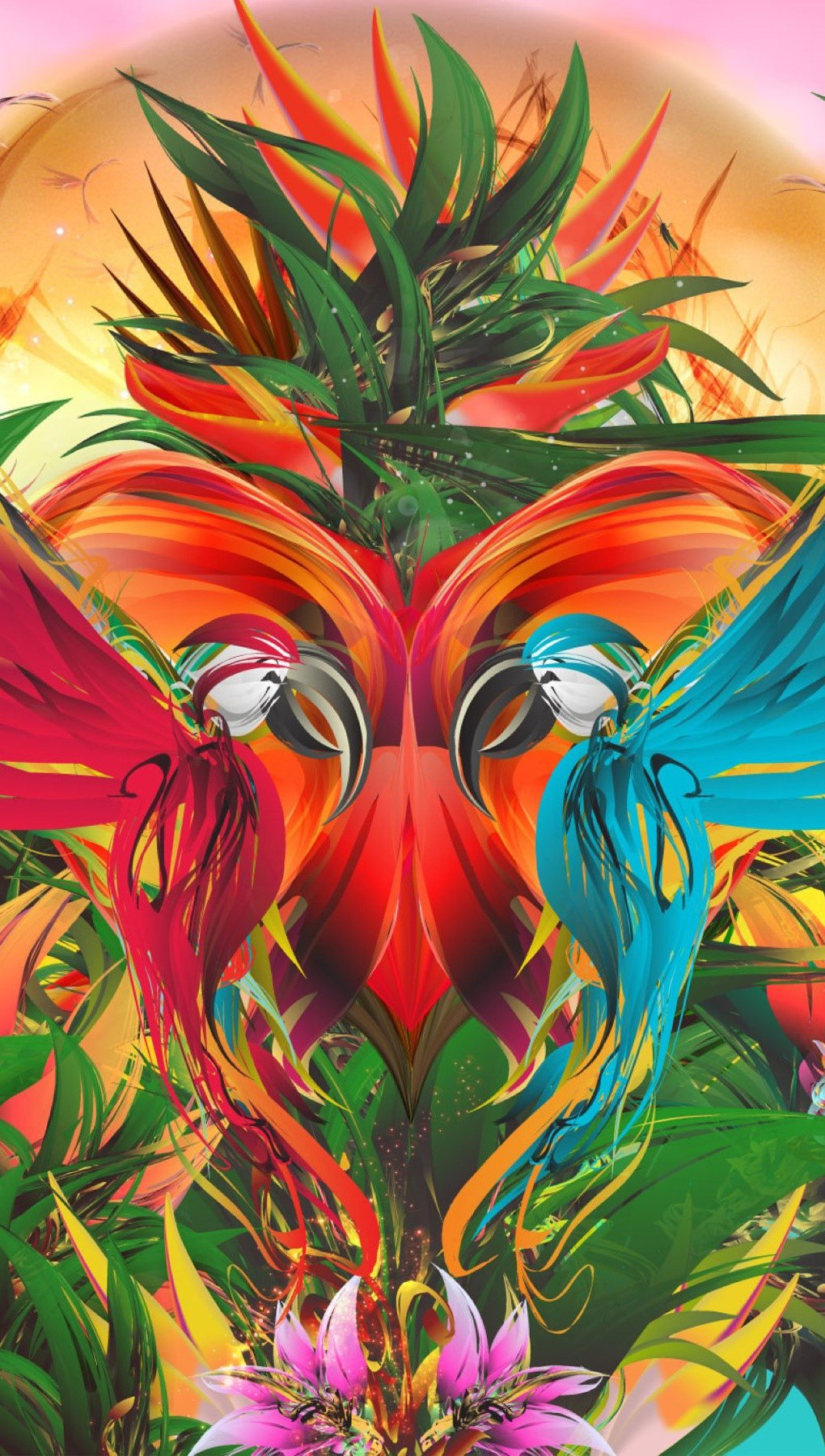 Wallpaper Parrots in a colorful garden Vertical