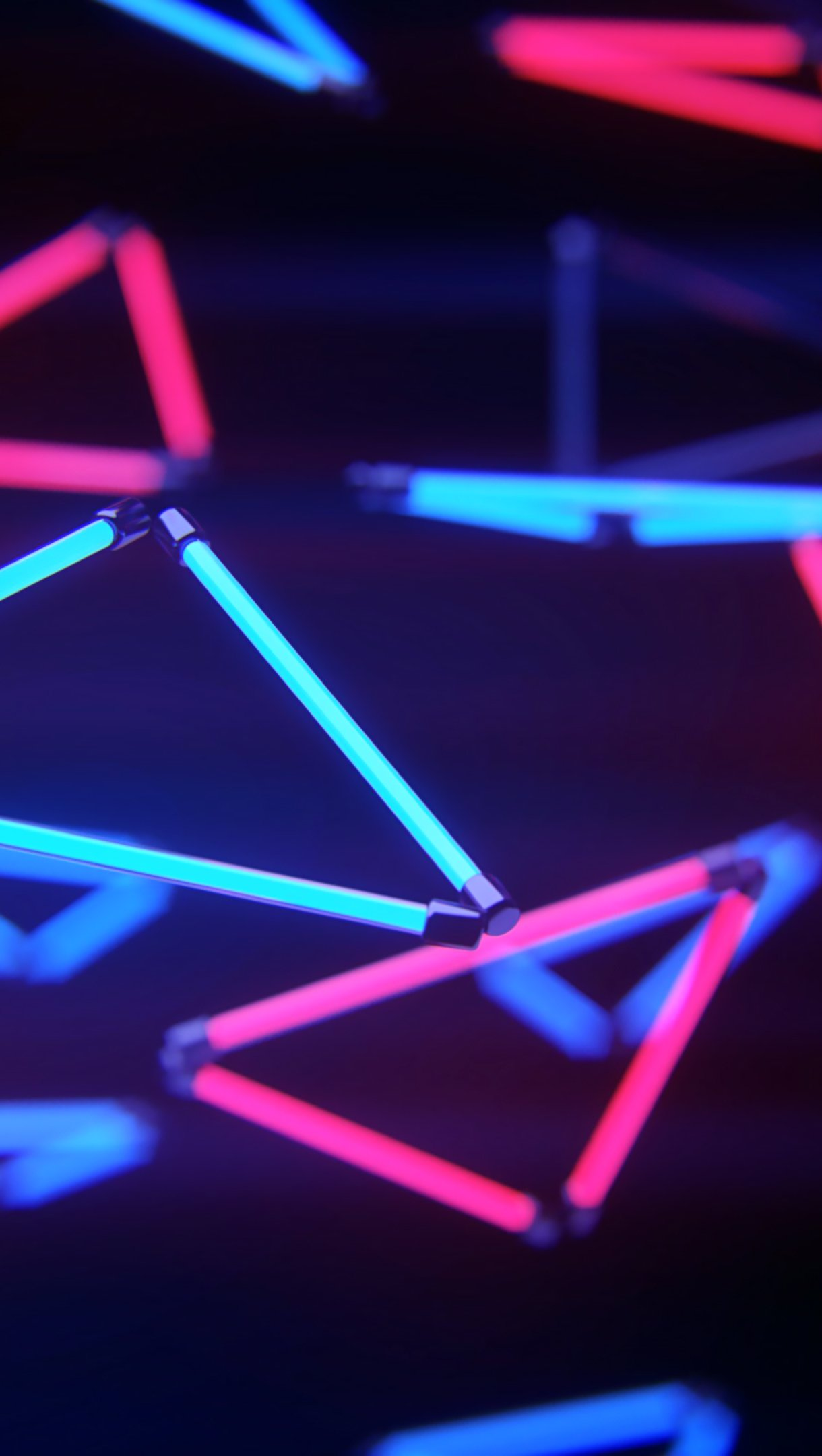 Wallpaper Neon triangular lights Vertical