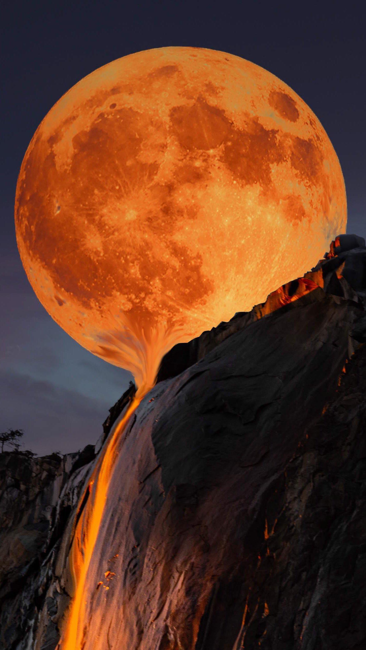 Fondos de pantalla Luna derritiéndose en Yosemite Vertical