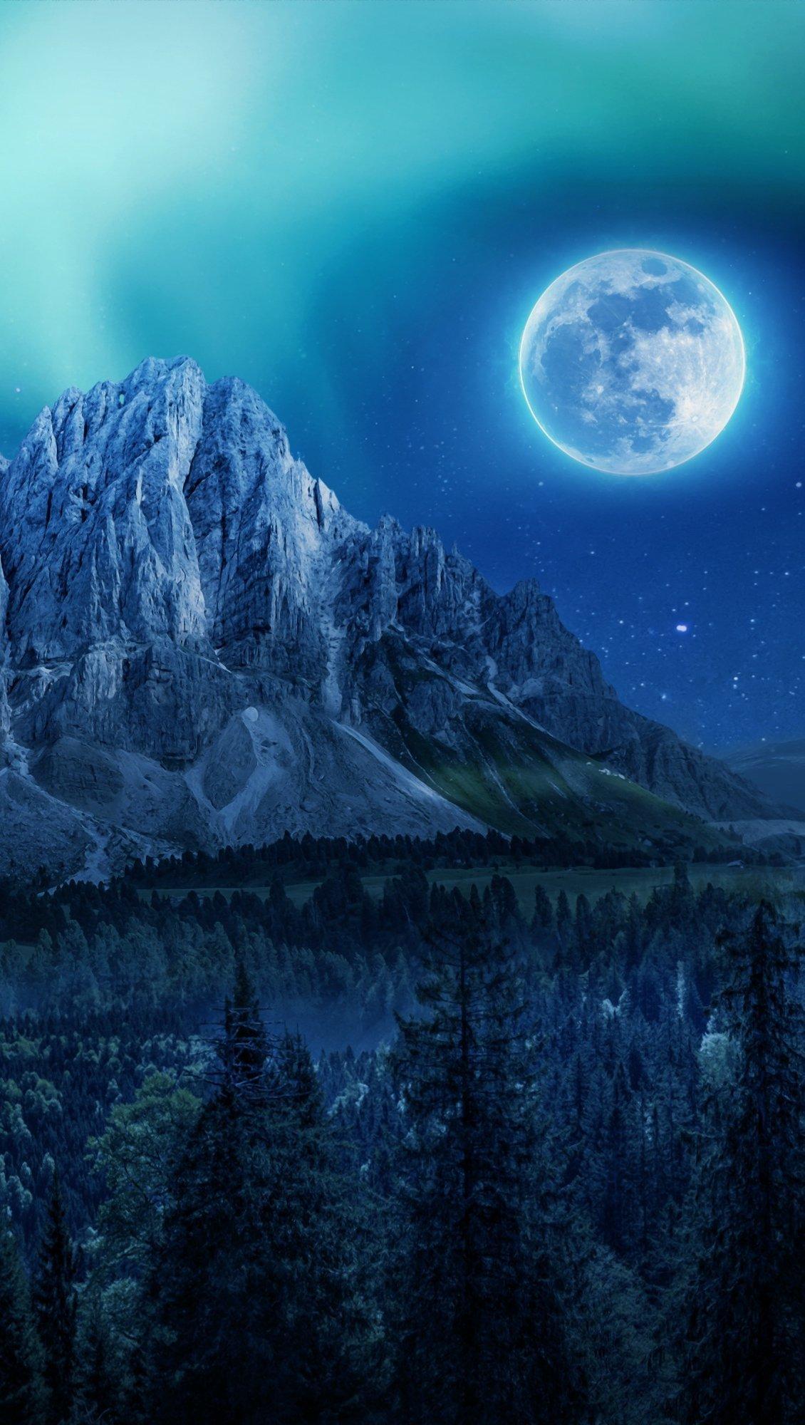 Wallpaper Moon next to mountain Vertical