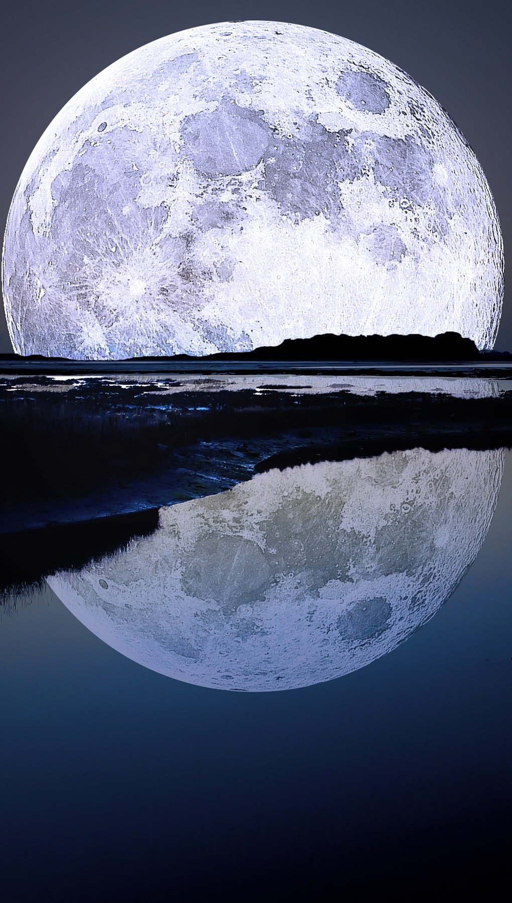 Wallpaper Full moon in a lake Vertical