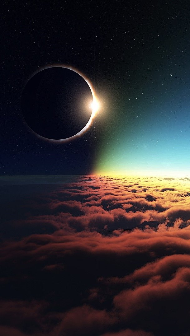 Wallpaper Moon above the clouds Vertical