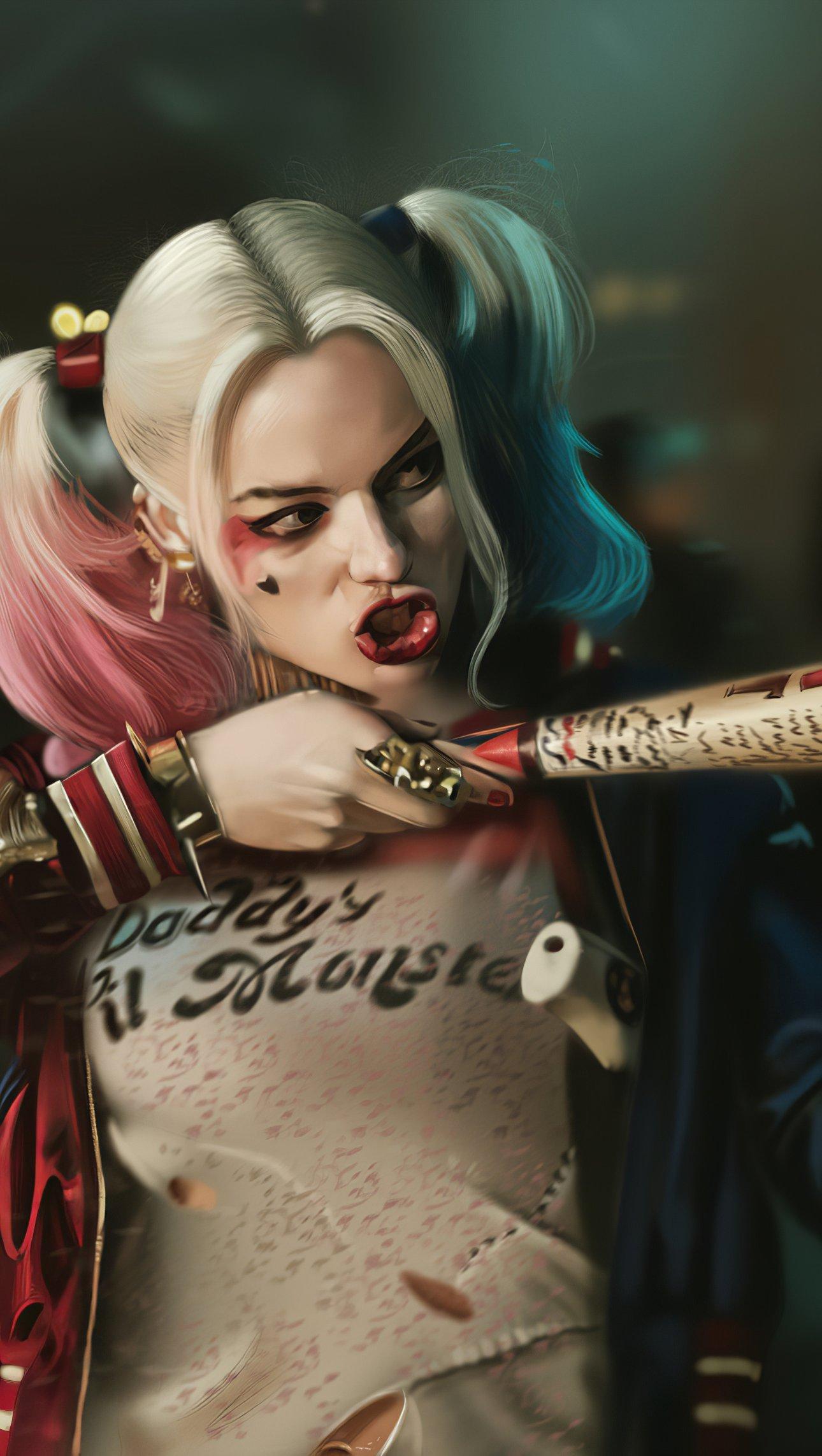 Wallpaper Margot Robbie as Harley Quinn Fanart Vertical